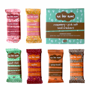 We Bar None sampler pack - paleo, vegan, gluten-free snacks. Coconut, gingerbread, chocolate, mocha, aztec and any packet of seed crackers